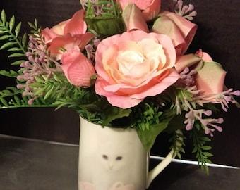 Pink Floral Arrangement in Cat in a Ballet Slipper Mug