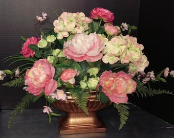 Pink and Green Silk Peony and Hydrangea Floral Arrangement