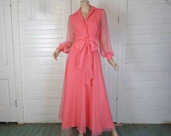 70s Coral Pink Chiffon Dress- 1970s Disco / Maxi / Formal- Small