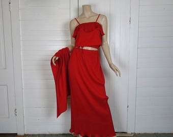70s Disco Dress / Outfit in Scarlet Red- Accordion Pleated- Crop Top & Maxi Skirt- 1970s Studio 54