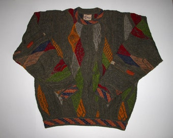 COOGI Classic Australia Sweater XL, Cotton Linen Muted Bright Earthy Colors, Long Sleeve Crew Neck, Hipster Biggie Textured Pullover