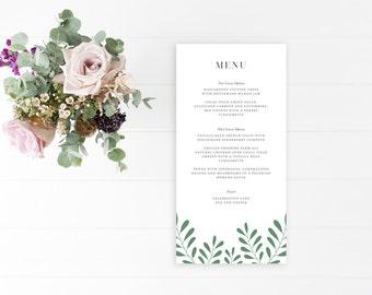 Event Dinner Menu, Wedding Menu, Dinner Menu, Nature Inspired, Woodland Greenery, Greenery Menu