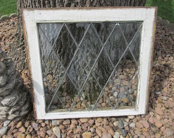 Antique Lead Glass Window 22 x 20 1/2