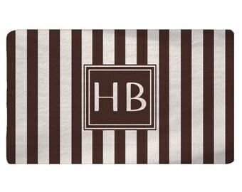 Designer Style Plush Fuzzy Area Rugs - Bold Vertical Chocolate and Cream Stripes- Personalized, Monogram, Custom