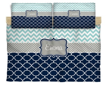 Twin Daybed Bedding and shams- Personalized - Chevron and quatrefoil Twin Daybed, Colors can be changed