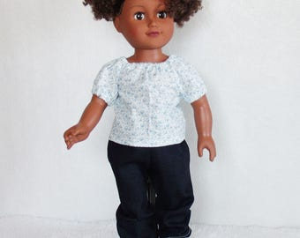 """18 inch Doll's outfit, 18"""" dolls jeans, doll pants, dolls tops, doll shirt, doll blue jeans, dolls fringe boots, 3 piece doll clothes set"""