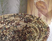 Coiled Fabric Basket in Earthy Warm Tones of Brown, Tan and Mossy Green - Catchall for Your Keys, Change, Handmade by Me
