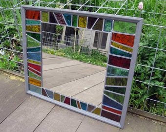 Stained glass mirror - large, rectangular / window privacy screen