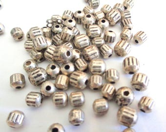 Small silver beads, 3 X 2mm silver beads, silver plastic beads, resin silver beads, tiny silver beads, loose beads, jewelry supplies, 50pc
