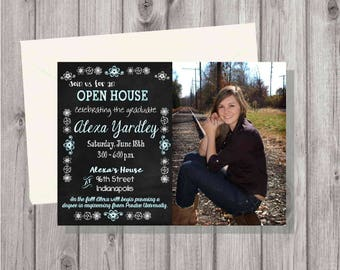 Digital Rustic Chalkboard Flowers & Lights Photo Graduation Party Invitation Printable Any Font Colors