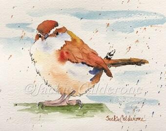 Watercolor Painting, Art Print, Giclee Print, Carolina Wren, Original Watercolor, Wall Art Decor, Keepsake Gift, Bird Print, Bird Watercolor