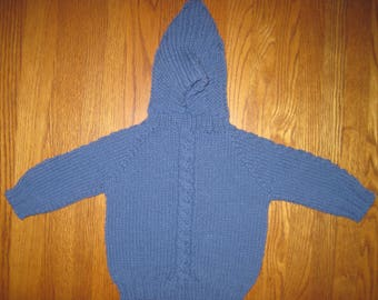 Hand Knit Baby Sweater Zip Back Hood Blue Acrylic Size 6 to 12 Months  Free US Shipping!