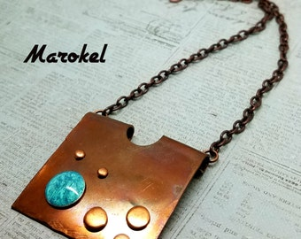 Galaxy Copper Necklace Abstract Square Fire Torched Patina Planets Dots Turquoise