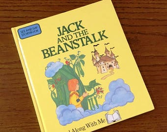 Fee Fi Fo Fum, Jack and the Beanstalk, See and Say Storybook, Words in Pictures, Fairy Tale, Goose with Golden Eggs,Colorful Illustrations