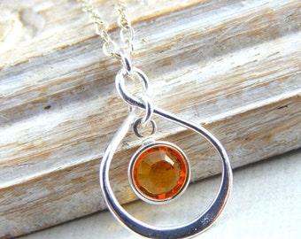 Christmas Sale November Birthstone Necklace, Personalized infinity necklace, Citrine, November birthstone jewelry, birthday gift