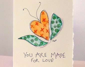 "Kitchen Sink Affirmations ""You Are Made For Love""  Watercolor Original Strathmore Card 5"""" x 6 7/8"" & Envelope  betrueoriginals"