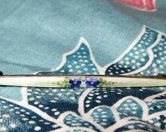 Antique Enamel Blue Flowers terling Silver Bar Brooch Pin C Clasp