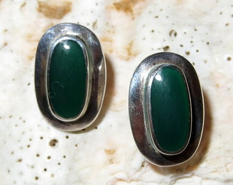 Green Stone Sterling Silver Earrings Modernist Pierced BOCCO