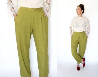 90s chartreuse HIGH WAIST pleated trousers M