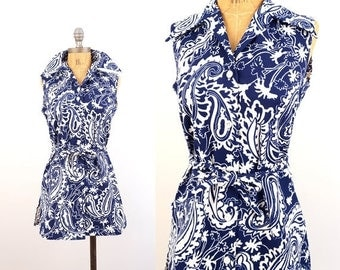 SPRING SALE vintage 70s floral BELTED blue + white Print sleeveless Tank top M
