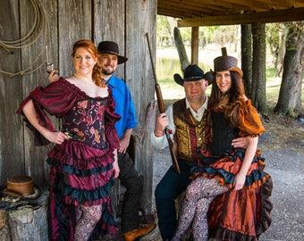 Corset, Burgundy, Silver, and Copper, Steampunk, Wild West, Renaissance, Pirate, Victorian, Fairy, Costume, Corset