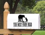 Mailbox Address with Bear and Cub Decal - Bear - Wildlife - Bear Mailbox - Outdoor Mailbox - Custom Mailbox - Vinyl Decal - Sticker - DIY