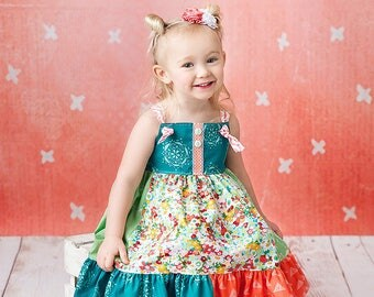 Sale, girls knot dress, coral dress, floral knot dress, summer dress, mint and coral, jumper dress, toddler dress, by Melon Monkeys