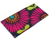 Floral Checkbook Cover Personalized Checkbook Wallet Fabric Check Holder Bold Jewel Tone Stripes and Pink Floral CK0013