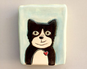 Cat Art, Mini Wall Art with Black Tuxedo Cat, Blue Small Wall Tile with Kitty, Home Decor, Animal Art Pottery