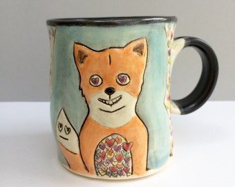 Fox Mug, Fox is Full Of Love Mug,  Blue and Orange Coffee Mug or Tea Mug With Hearts, Animal Pottery