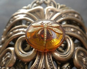 Dragonfly in Amber Statement Cuff Bracelet Gift for Outlander Fan