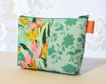 Amy Butler Violette Fabric Gadget Pouch Small Cosmetic Bag Fabric Zipper Pouch Makeup Bag Meadow Blooms Tulips Roses Mint Yellow Orange