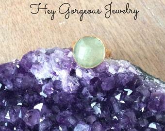 Prehnite statement ring- green amethyst- gold ring-size 7- valentines gift