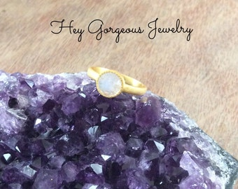 Moonstone stacking ring-faceted moonstone-moonstone ring-stacking rings-gemstone ring-valentines gift
