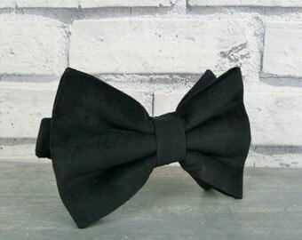 Oversized Bow Tie - Black Cotton Velvet, Mens Large Bow Tie