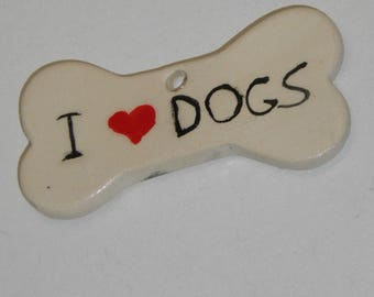 I love dogs Handmade Ceramic Bone Tile 9*4cm Dog Bone Ornament Decoration