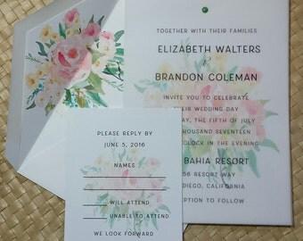 Spring Bouquet Wedding Invitation, Spring Flowers Invitation, Wedding Bouquet Invitation, Spring Floral Wedding Invitation, Unique Invite