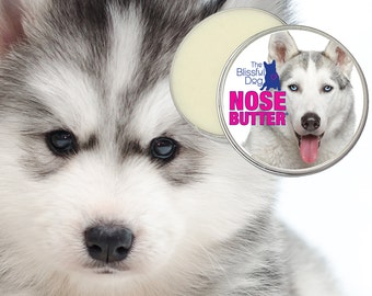 Siberian Husky Dog ORIGINAL NOSE BUTTER® All Natural Handcrafted Balm for Dry or Crusty Dog Noses 8 oz. Tin With Husky Label in Gift Bag