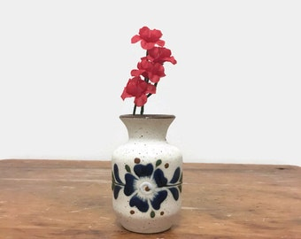 Small Stoneware Vase - Blue Flower - From Mexico