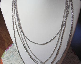 Striking 5 Strand Vintage Multi Strand Chain Necklace. Silver Plated. Folding Clasp. 5 Variations of Chain
