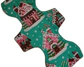 Heavy Hemp Core- Gingerbread Houses Reusable Cloth Goddess L Pad- WindPro Fleece- 14.5 Inches