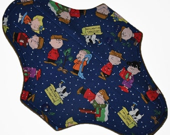 Moderate Hemp Core- Charlie Brown Christmas Reusable Cloth Maxi Pad- WindPro Fleece- 10 Inches (25.5 cm)