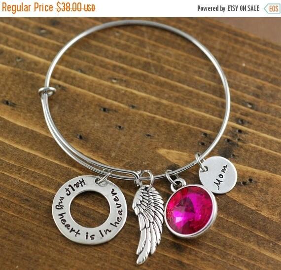 15% OFF SALE Memorial Bangle Bracelet, Half My Heart is In Heaven, Bereavement Jewelry, Hand Stamped Bracelet, Charm Bracelet
