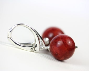 Sponge coral 12mm stones on sterling silver lever backs, by art4ear, minimalist jewellery, red orange, Free shipping in Canada, under 25 USD