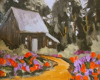 Impressionist Painting COTTAGE Flower GARDEN  Rustic Shed California Plein Air Landscape 8x10 Lynne French Art