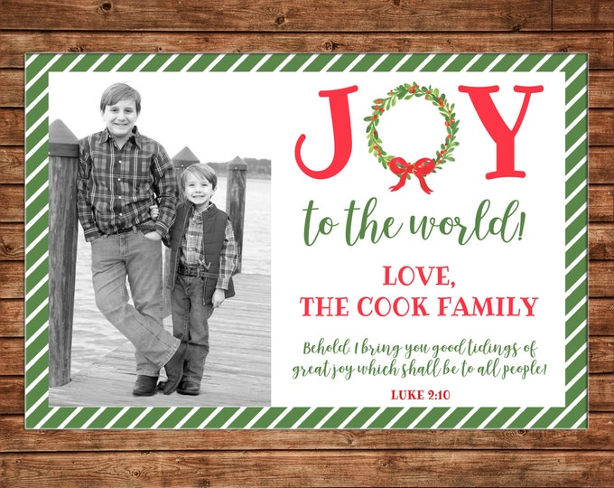 Photo Picture Christmas Holiday Card Watercolor Wreath Bow Stripe Joy To The World - Digital File