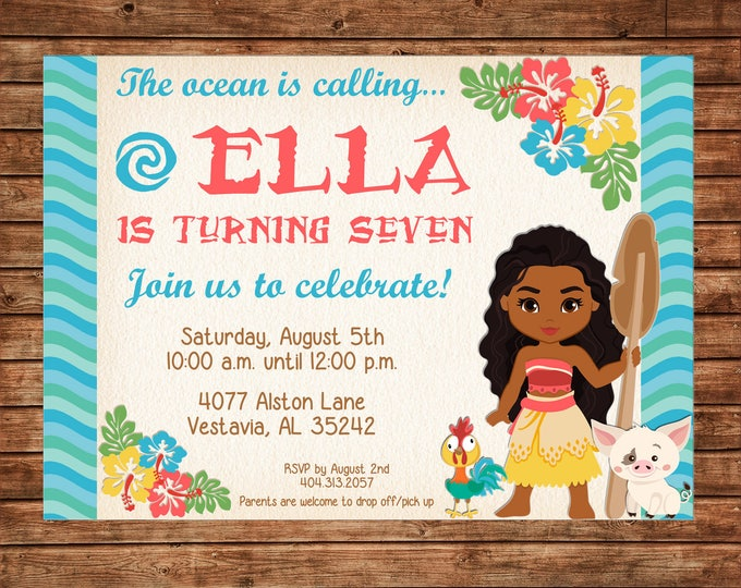 Girl Princess Princesses Ocean Sea Moana Hawaii Hawaiian Birthday Invitation - DIGITAL FILE