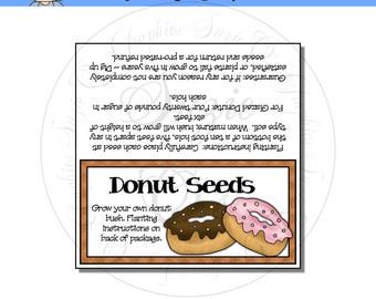 Donut Seeds Topper - US and International sizes - Digital Printable - Immediate Download