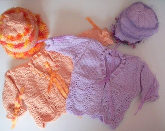 Lacy Peachy or Lilac Baby Sweater Set