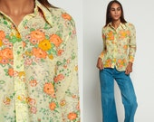 70s Button Up Shirt Floral Blouse Flower Print Graphic Secretary Boho 1970s Top Long Sleeve Shirt Vintage Retro Bohemian Yellow Small Medium